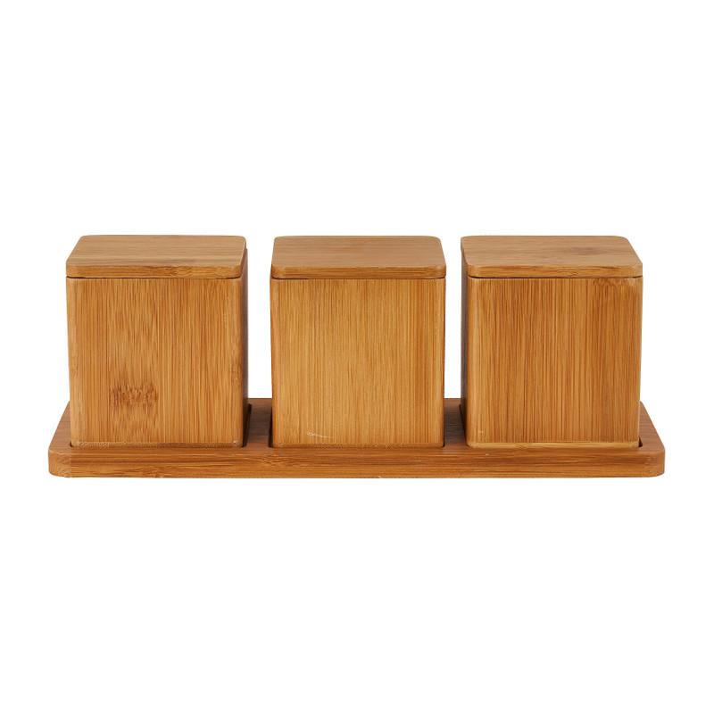 Voorraaddoosjes bamboe - 3 doosjes