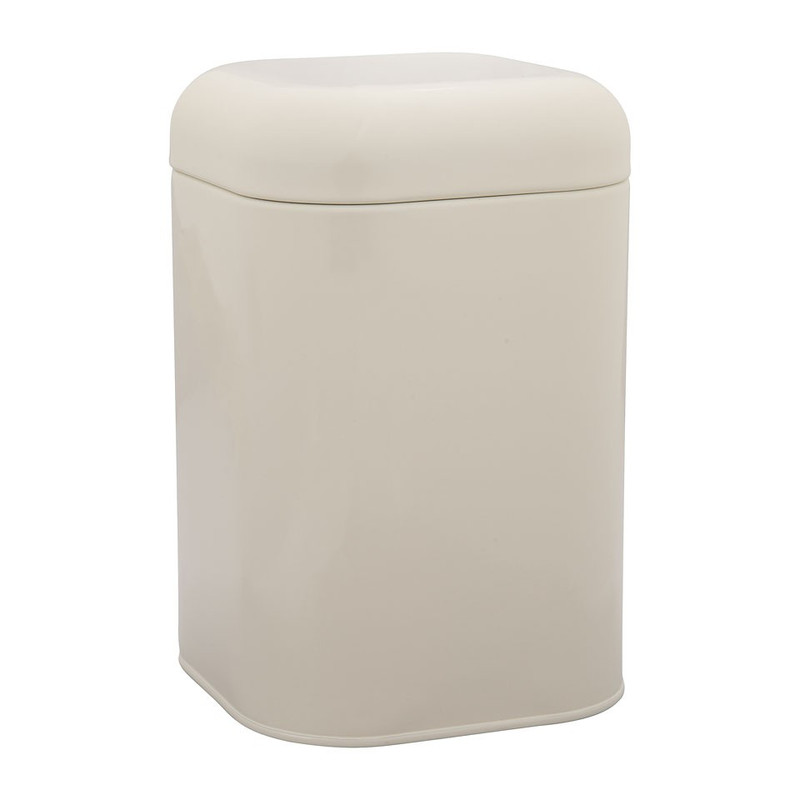 Blik retro vierkant - crème - 11,5x11,5x18 cm