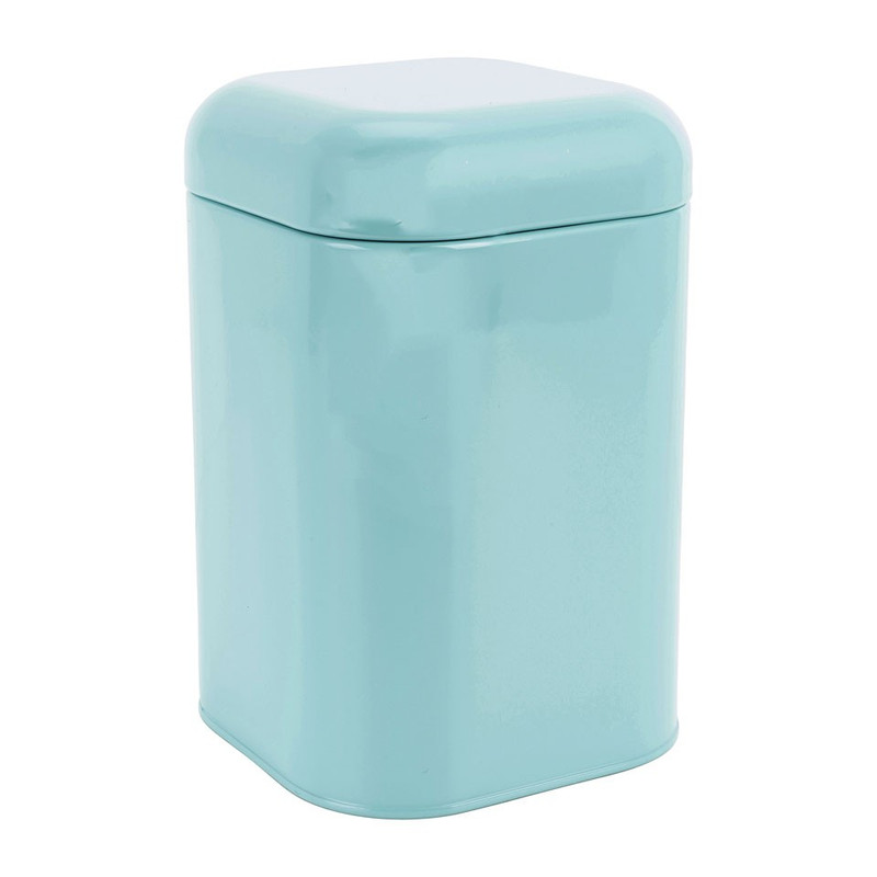 Blik retro vierkant - blauw - 11,5x11,5x18 cm