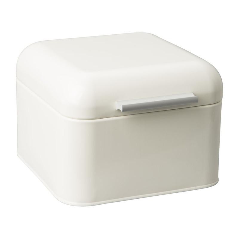 Bewaarblik retro - 20x20 cm - crème