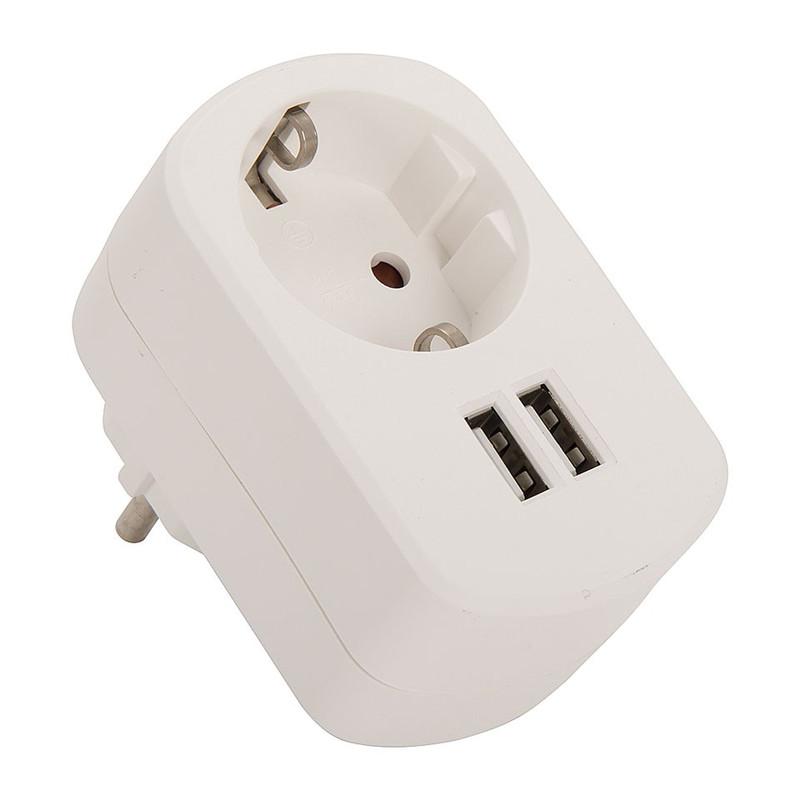 Dubbele USB-lader met stopcontact