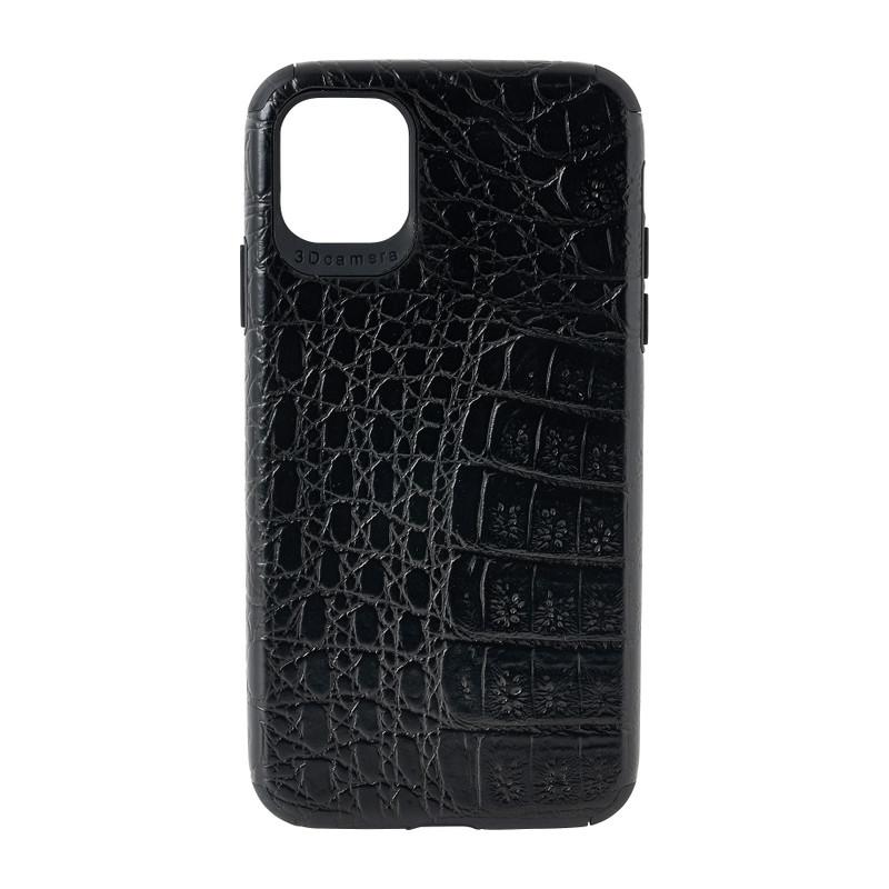 Iphone 11 hoesje croco - zwart