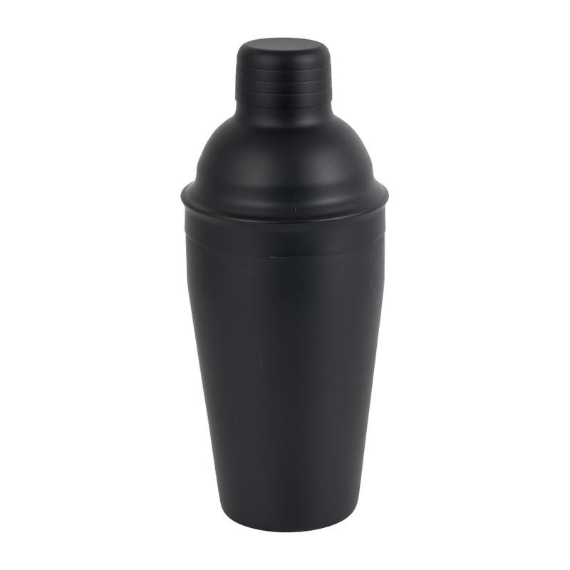 Cocktail shaker - zwart - 8,5x21 cm