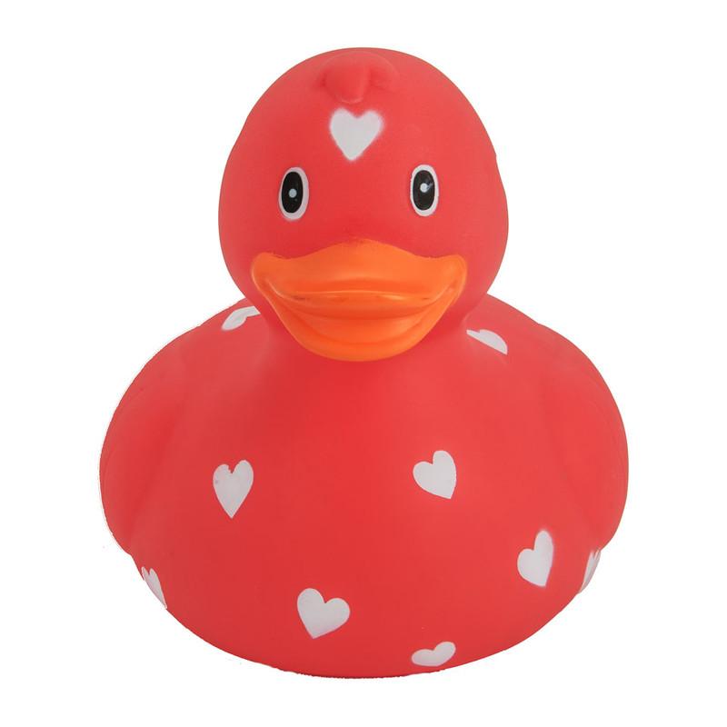 Badeend XL - hartjes - rood