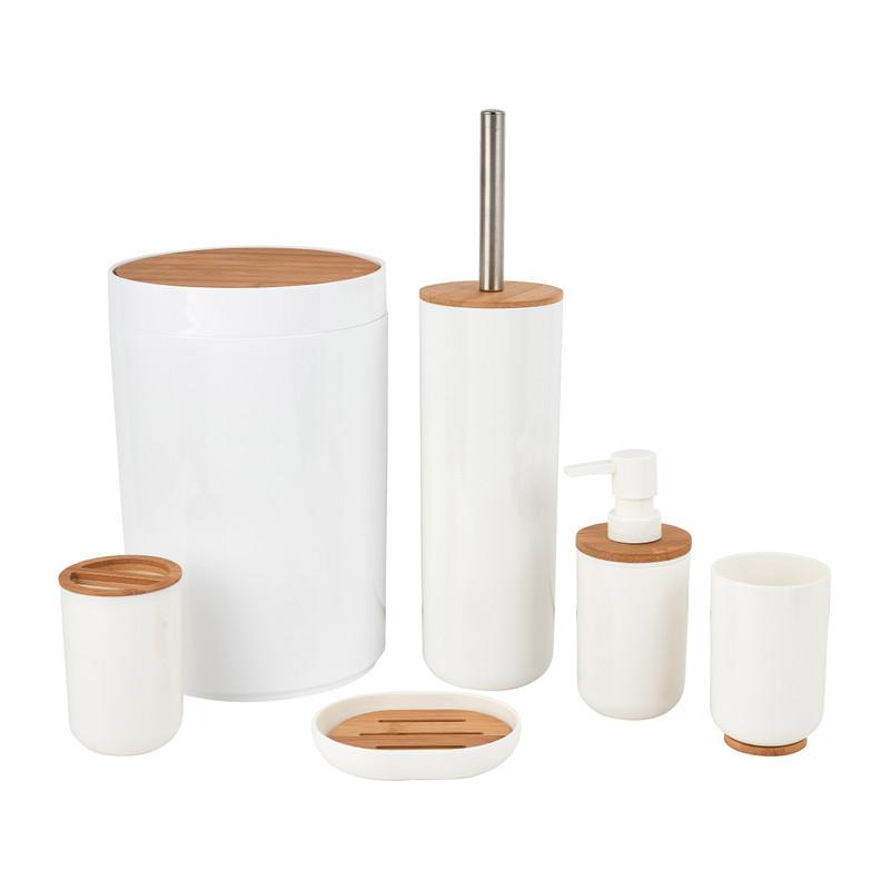 Badkamer En Toiletset 6 Delig Bamboe Wit Da S Leuk Van Xenos