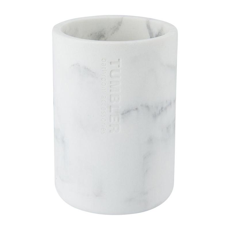 Beker marmer - wit - 11 cm hoog