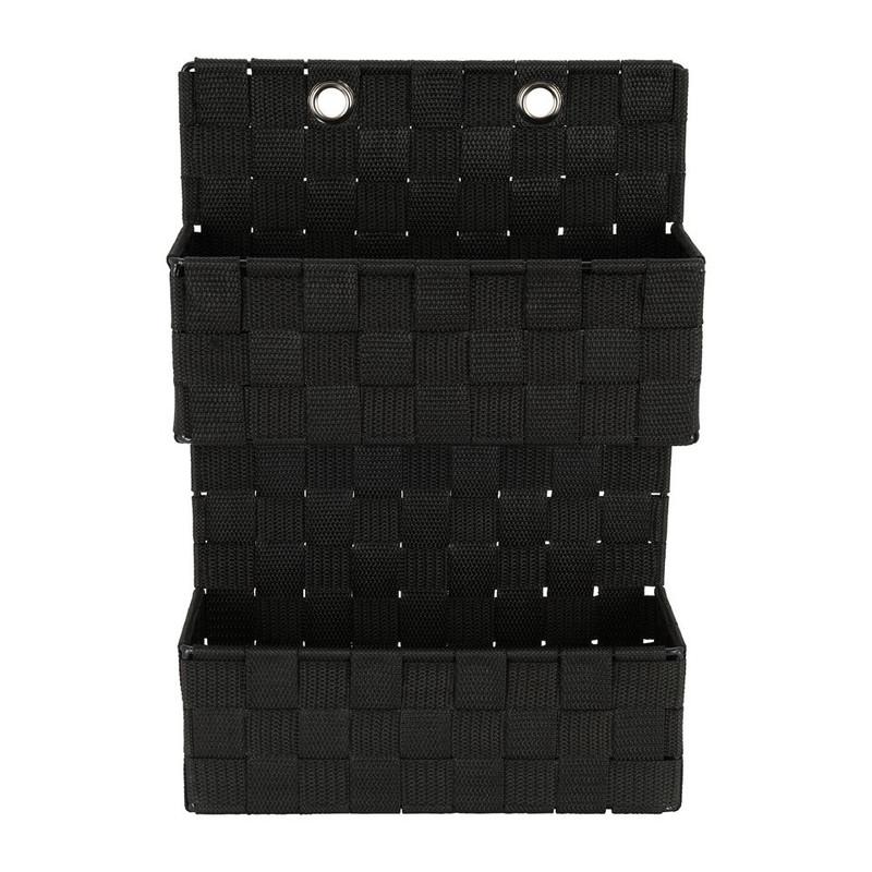 Hangmandje gevlochten - zwart