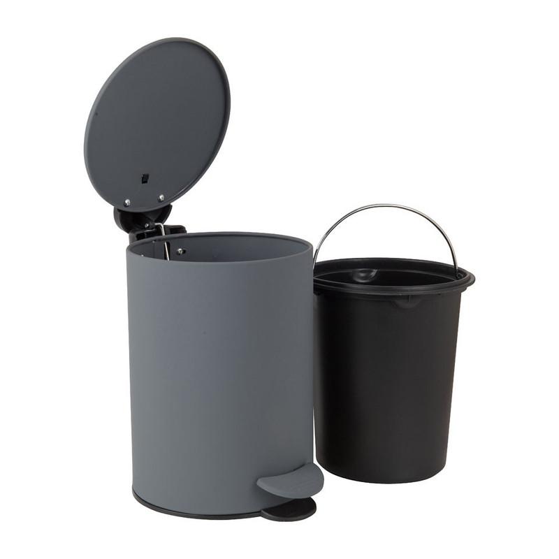Pedaalemmer grijs/zwart - 3 liter