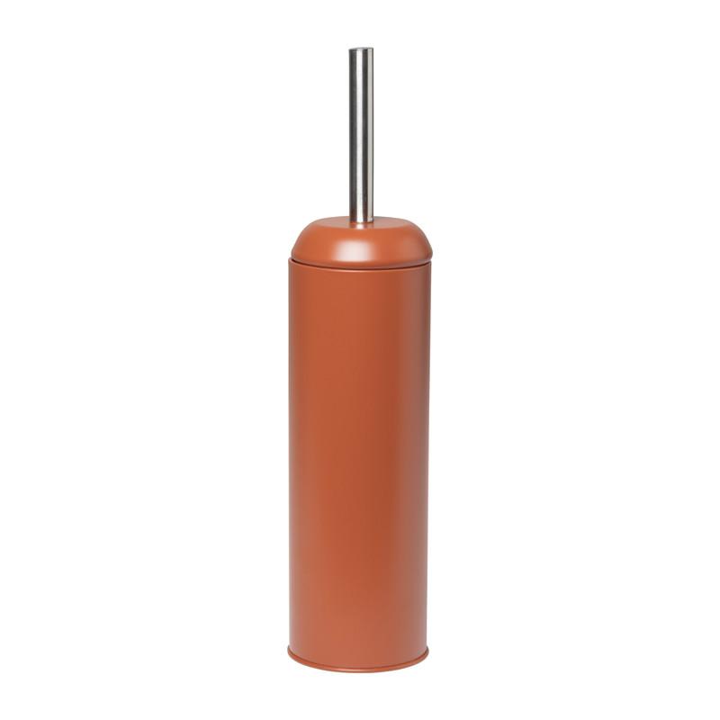 Toiletborstel en houder metaal - terra - 41 cm