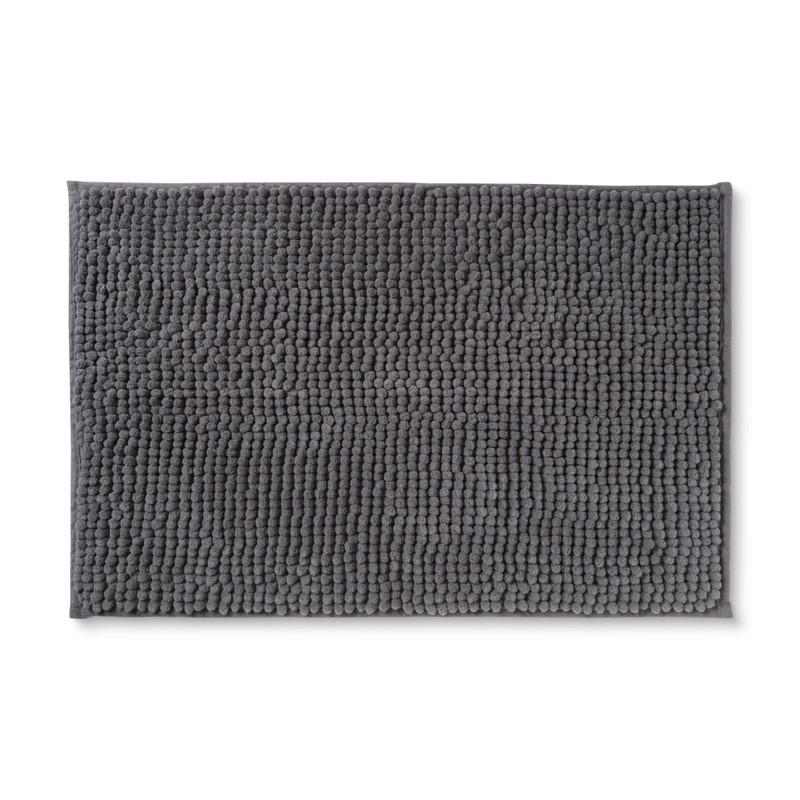 Badmat chenille - donkergrijs - 40x60 cm