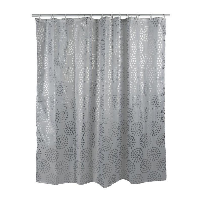 Douchegordijn met stippen - zilverkleurig - 180x200 cm