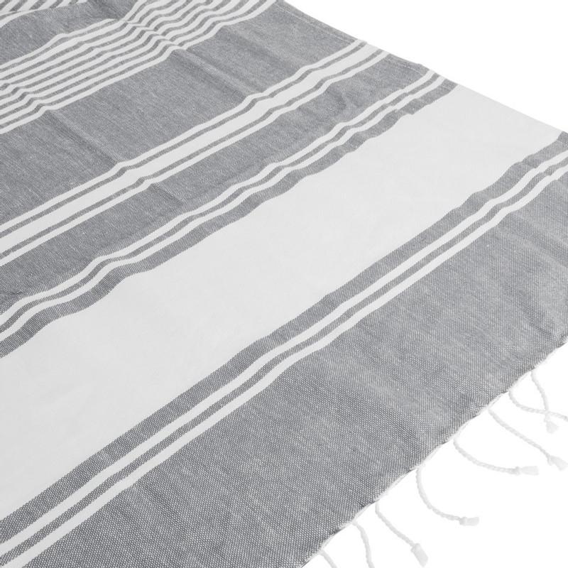 Hamamdoek met franjes - grijs - 180x100 cm
