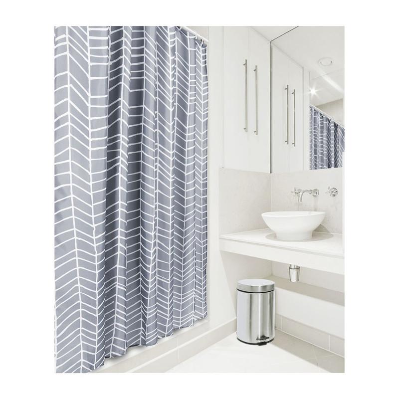 Douchegordijn visgraat - 180x200 cm - grijs