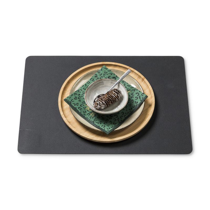Placemat PU leer - zwart - 46x33 cm