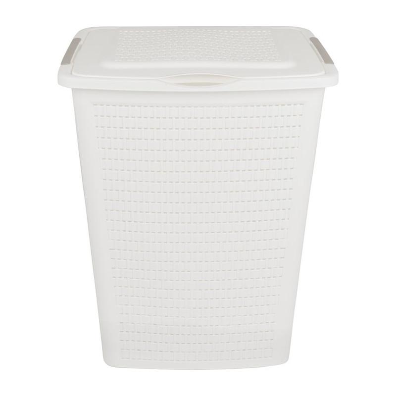 Wasbox gevlochten - 50 liter - wit