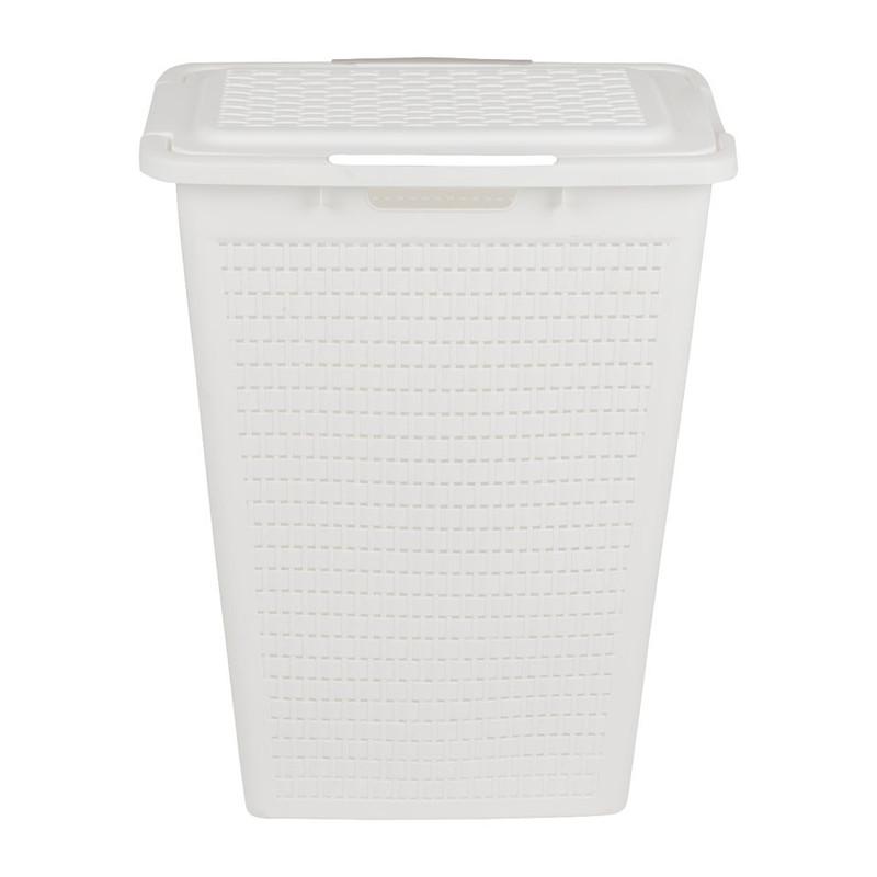 Wasbox gevlochten - 40 liter - wit