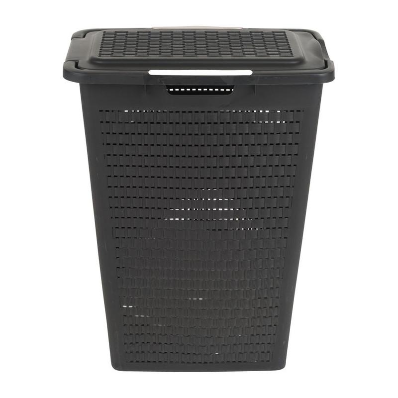 Wasbox gevlochten - 40 liter- antraciet
