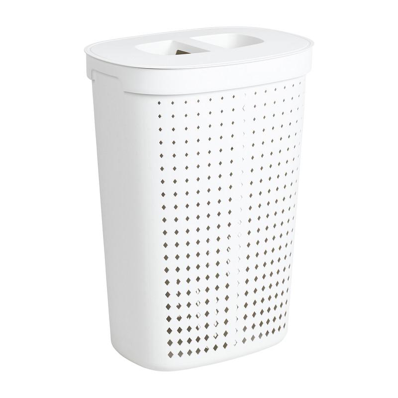 Wasmand ovaal - 2 vakken - wit - 45,8x33,6x63,7 cm
