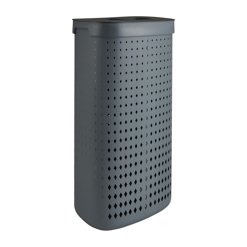 Wasmand ovaal - 2 vakken - grijs - 45,8x33,6x63,7 cm