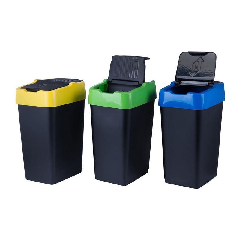 Afvalscheider triple - 3x18 liter - zwart