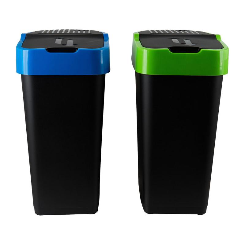 Afvalscheider duo - 2x35 liter - zwart