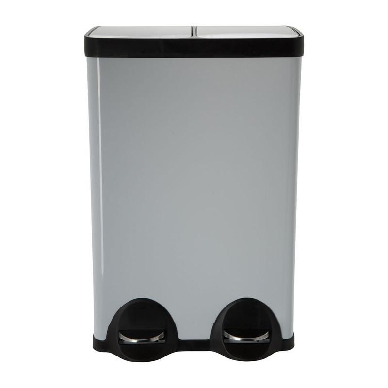Pedaalemmer duo bin - 2x30 liter - wit