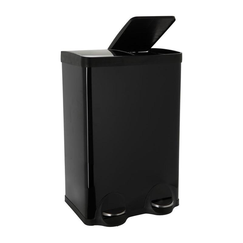 Pedaalemmer duo bin - 2x30 liter - zwart