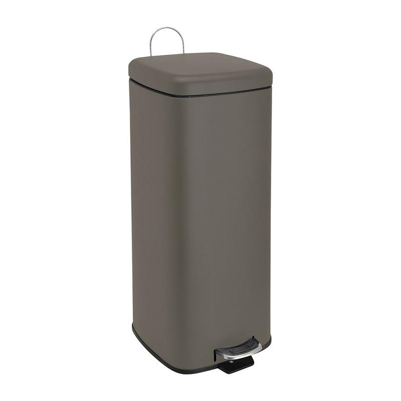 Pedaalemmer XL vierkant - 30 liter - grijs