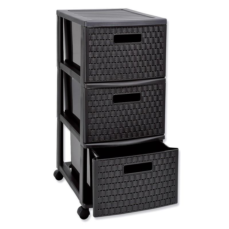 Ladekast Rattan XL - 3 lades - zwart