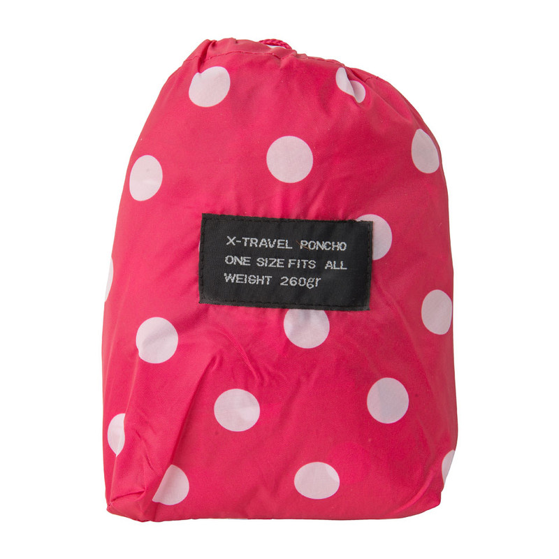 Travel poncho dots - fuchsia