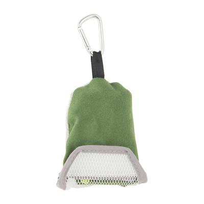 Travel-/sporthanddoek met karabijnhaak - 40x30 cm - groen