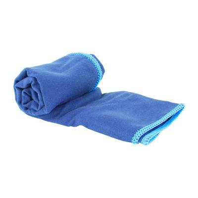 Travel-/sporthanddoek met karabijnhaak - 40x30 cm - blauw