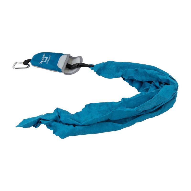 Travel-/sporthanddoek met karabijnhaakje - 40x40 cm - blauw
