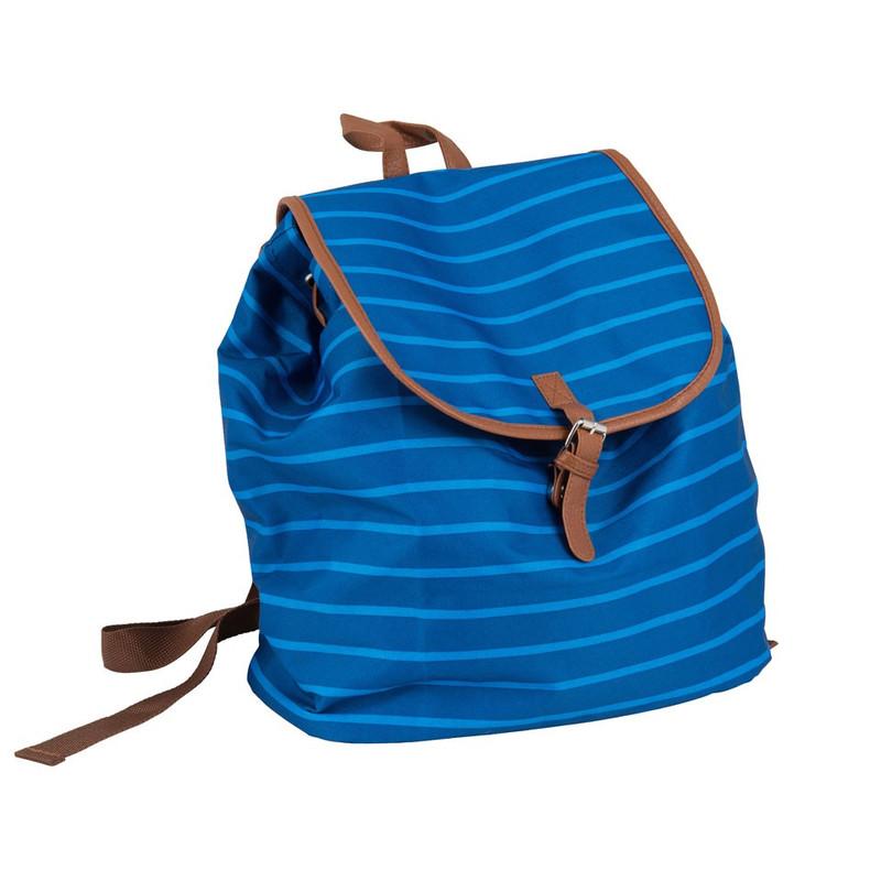 Rugzak met strepen - blauw - 30x33 cm