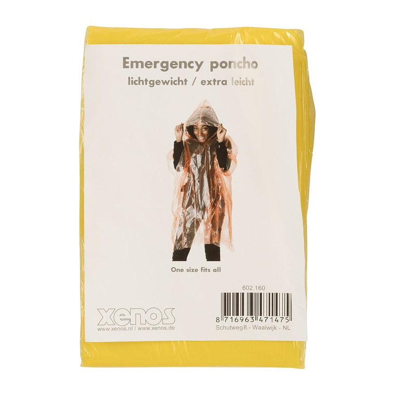 Emergency poncho - geel
