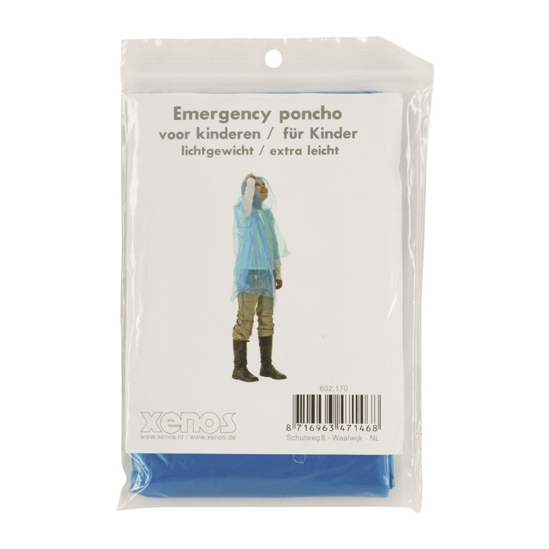 Emergency poncho kids - blauw