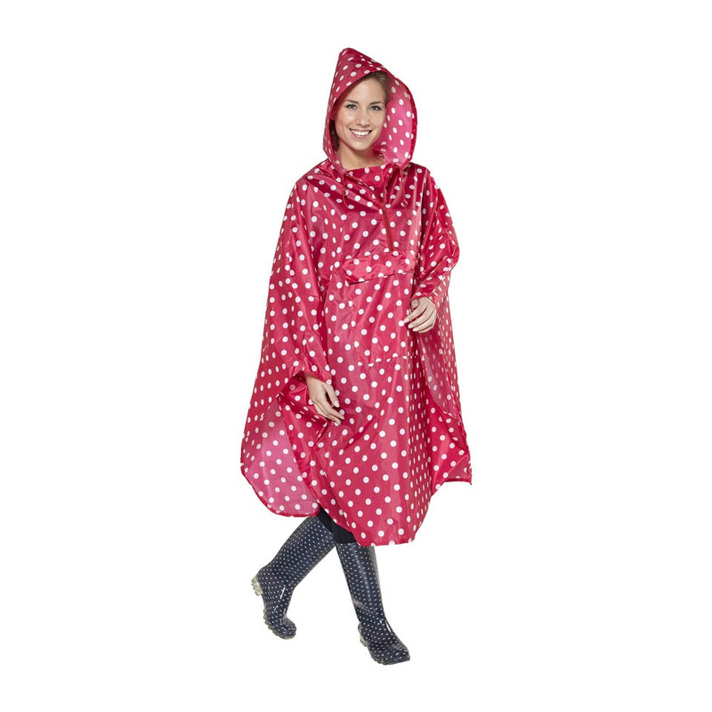 Travel poncho dots - rood