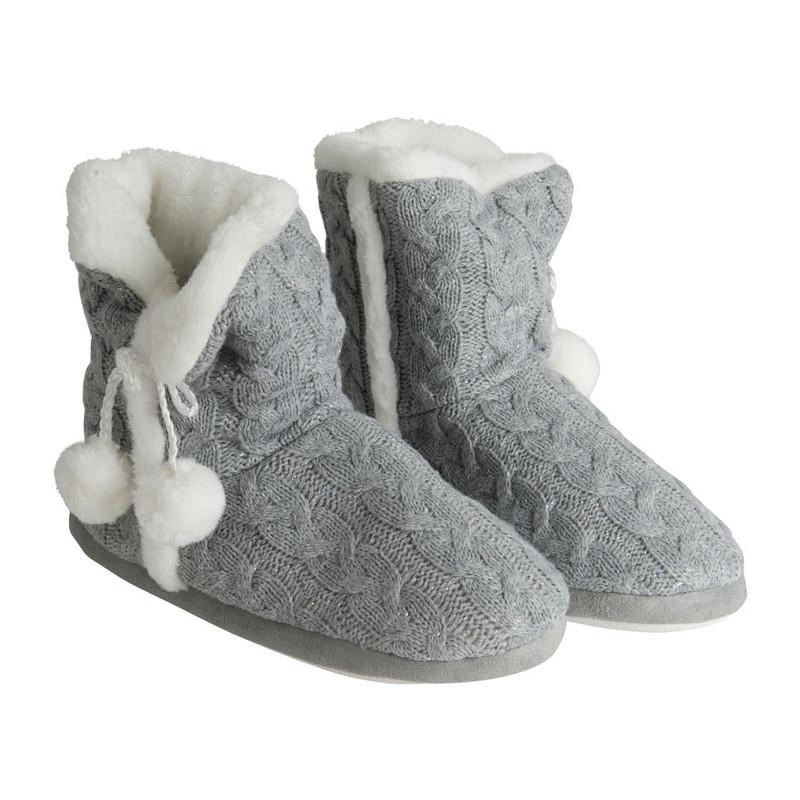 Pantoffels gebreid - grijs - maat 39-42