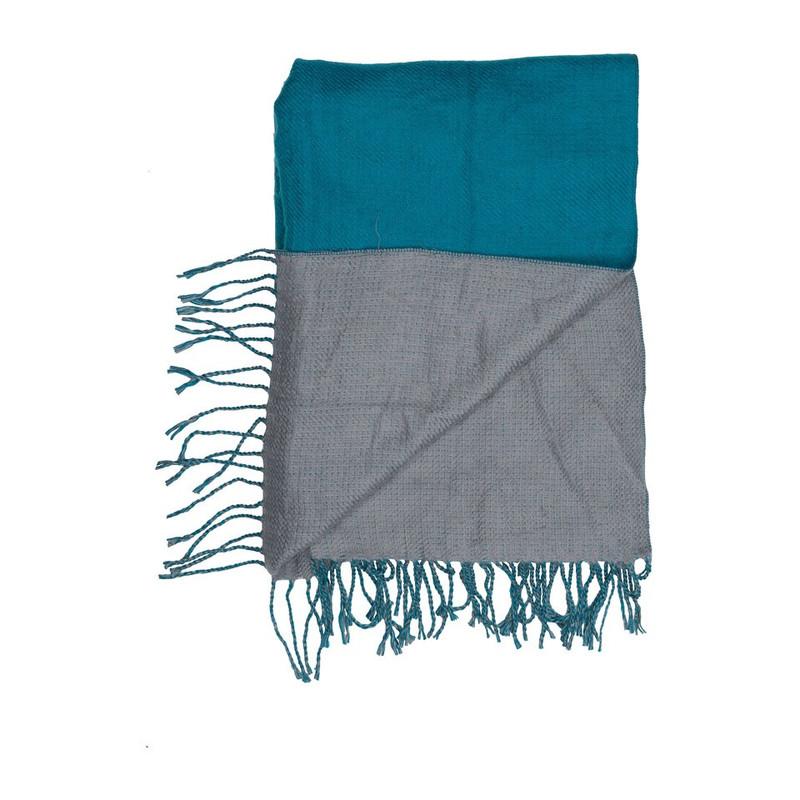 Sjaal 2-zijden - blauw/grijs