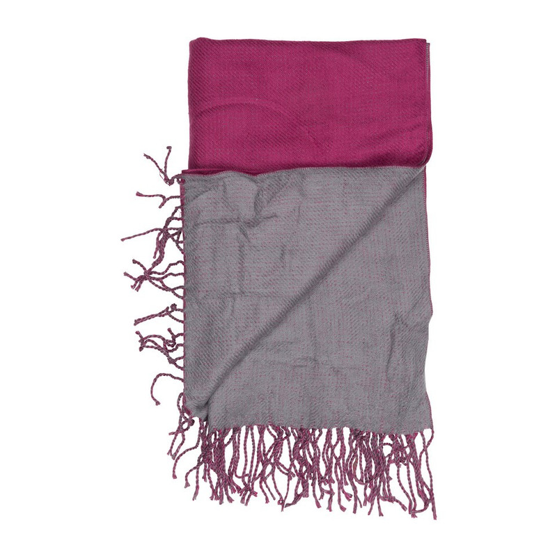 Sjaal 2-zijden - fuchsia/grijs