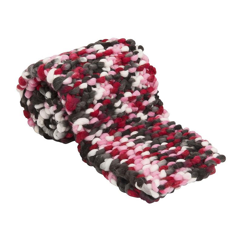 Sjaal grof gebreid - roze/grijs