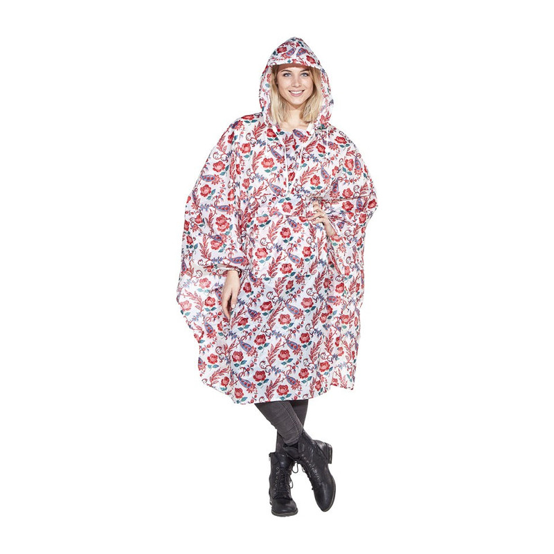Poncho pink/blue flowers - roze