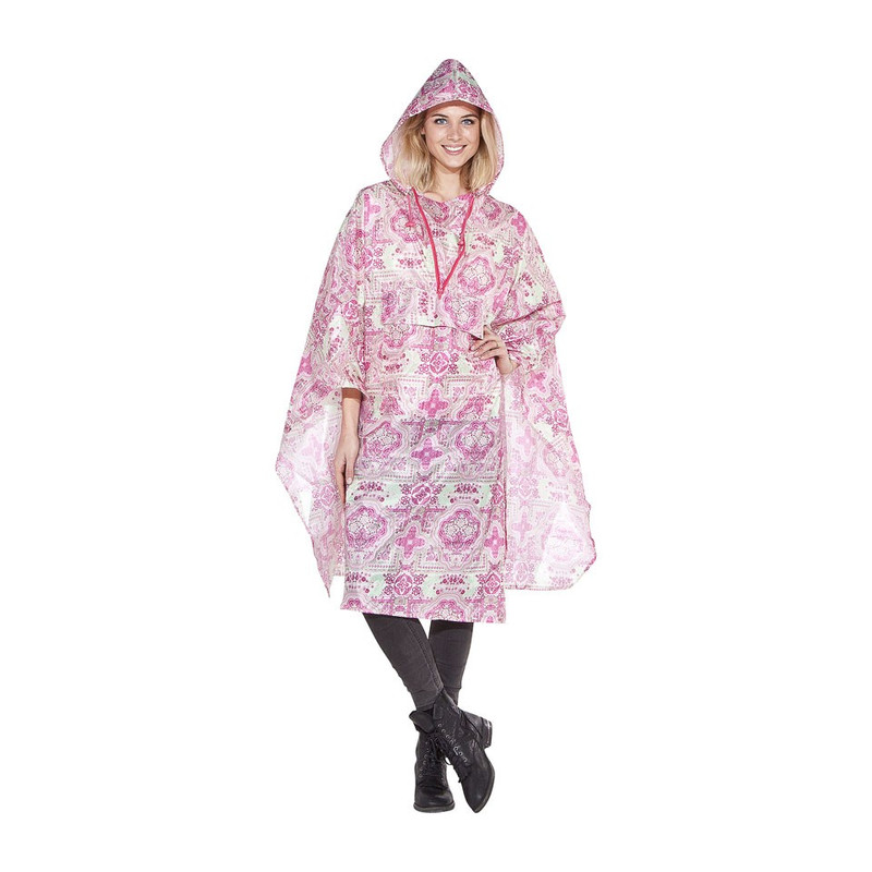 Poncho indian - roze/lichtgroen