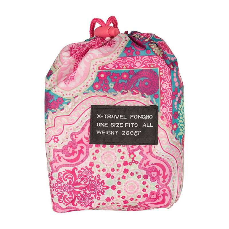 Poncho indian - roze/donkergroen