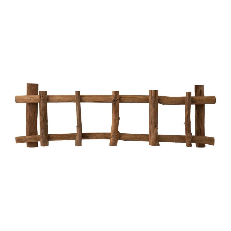 Kapstok met 5 haken - hout - 65 x 10 x 22 cm