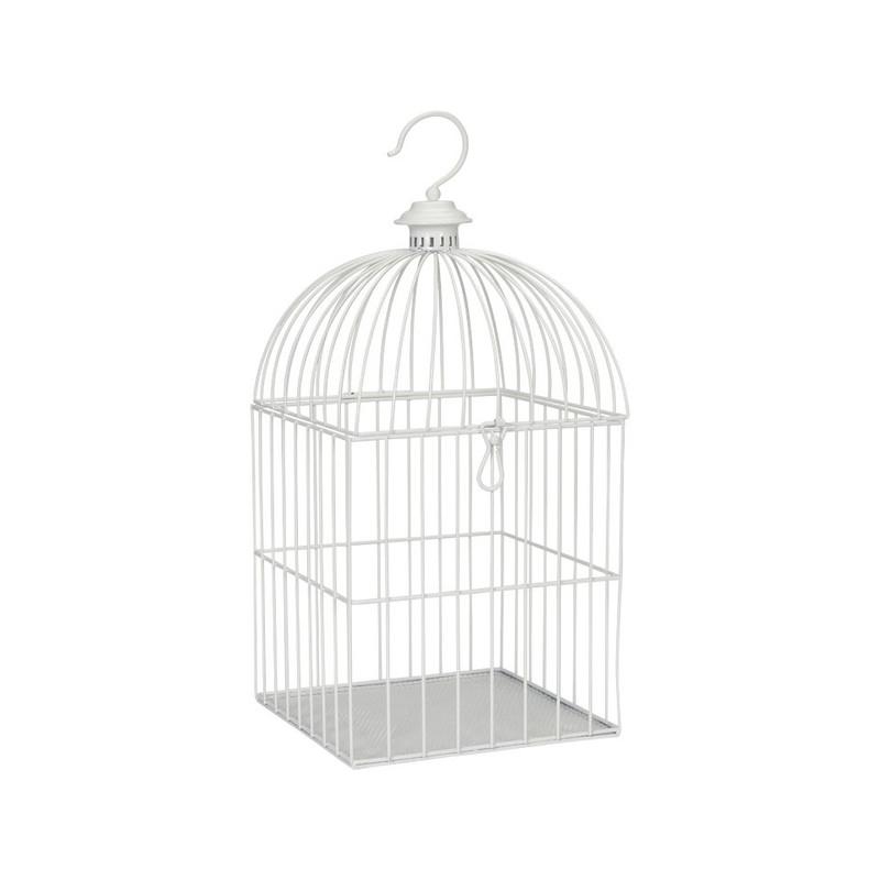 Vogelkooi vierkant - 27x46 cm - wit