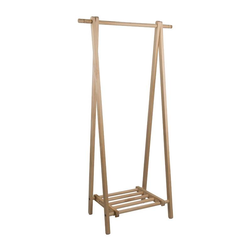 Kledingrek hout met plank - 41.5x76x149 cm