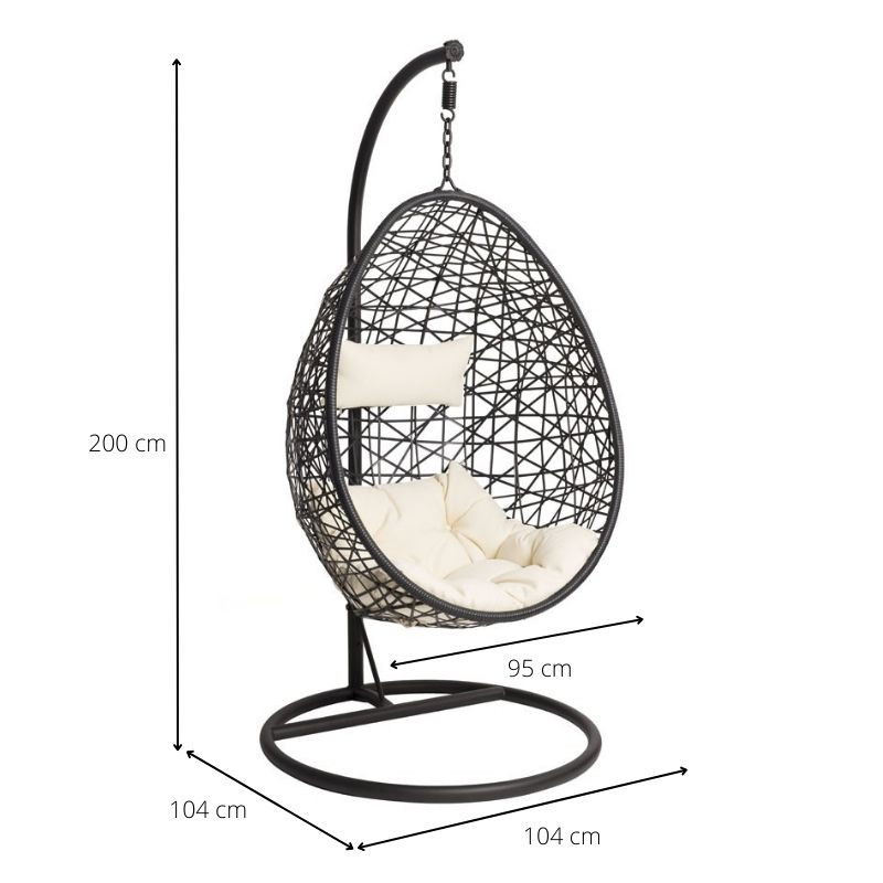Hangstoel Egg Wit.Hangstoel Swing Zwart