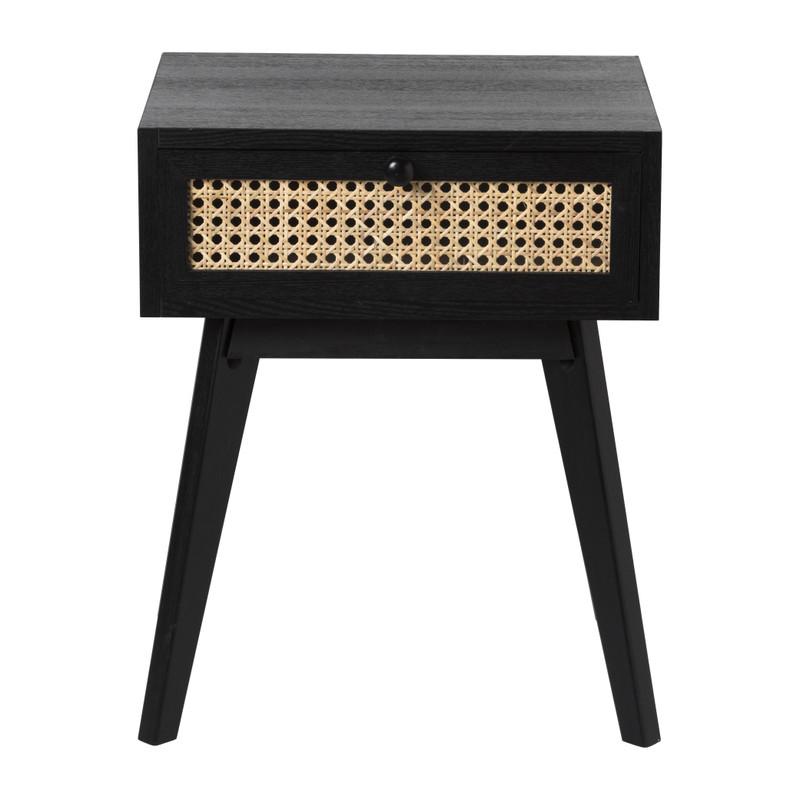 Webbing nachtkastje met lade - zwart - 40x30x50 cm