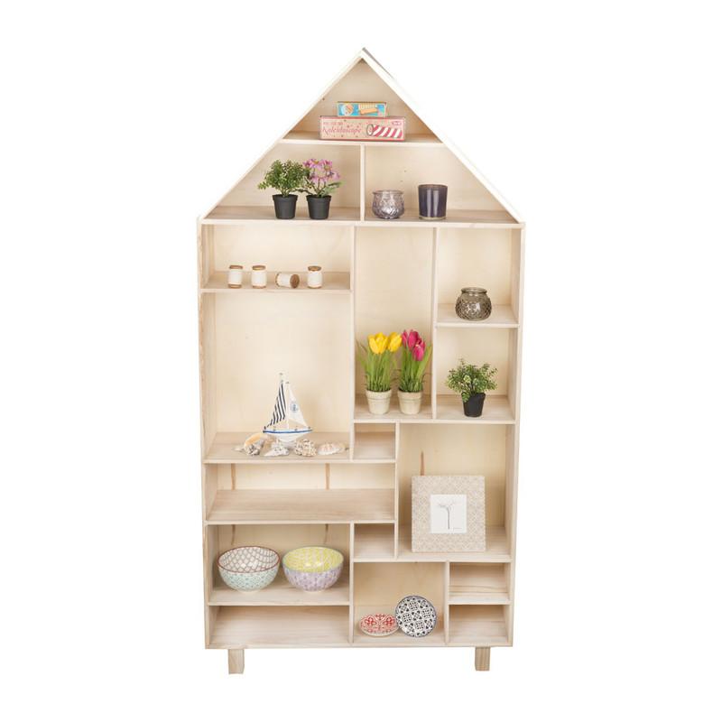 Vakkenkast houten huis - 150x76x20 cm